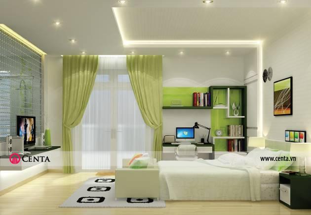 Thiết kế nội thất phòng ngủ gam màu xanh cốm
