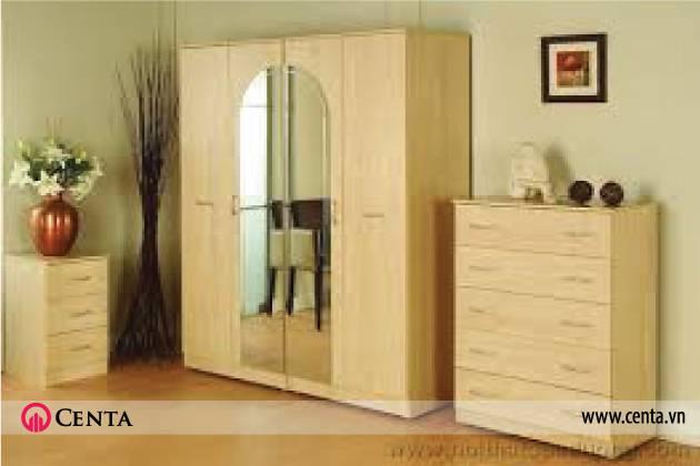 Phòng ngủ gỗ công nghiệp đẹp tủ áo tủ con tab