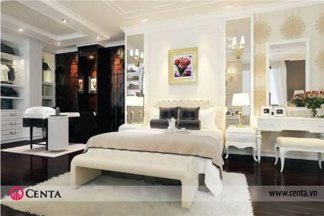 Thiết kế Nội thất phòng ngủ giường master tủ áo bàn trang điểm trang trí đầu giường