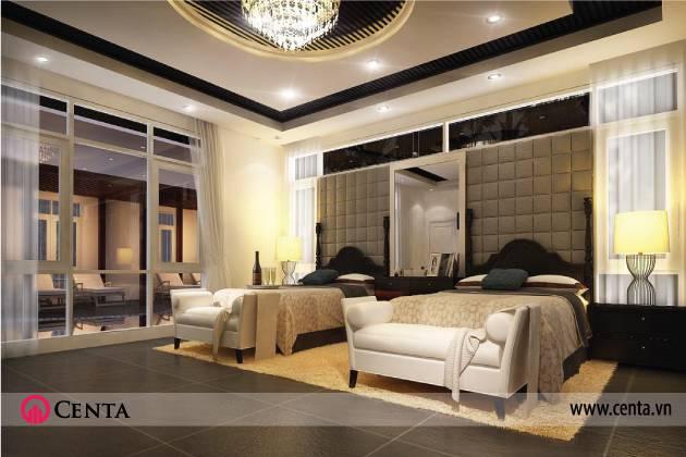 Thiết kế nội thất phòng ngủ Bộ đèn ngủ trang trí được đặt ngay trung tâm mang đến vẻ sang trọng