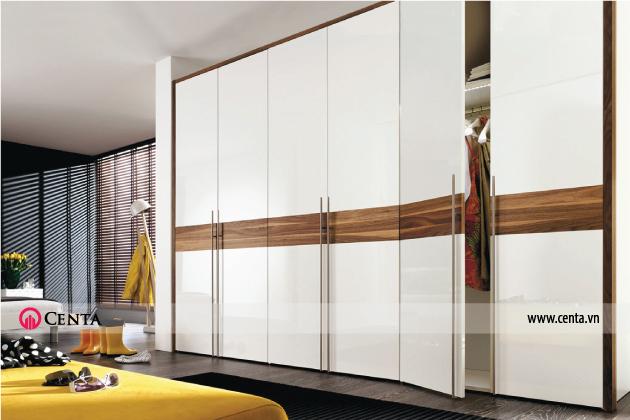 Mẫu tủ quần áo âm tường 3 buồng đẹp màu gỗ kết hợp acrylic màu trắng
