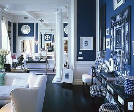 màu sắc trong thiết kế nội thất đẹp sử dụng màu xanh dương