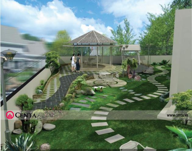 Tiểu cảnh sân vườn lát đá vườn ngoài trời có chòi nghỉ