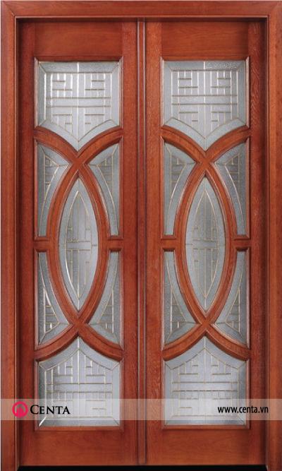Cửa gỗ nhà đẹp cánh gỗ kính có khung đồng bên trong kính mờ