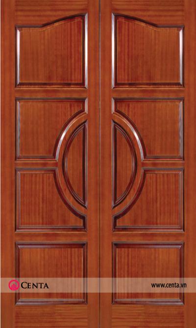 Cửa gỗ lim 2 cánh trang trí ô bầu dục đơn giản