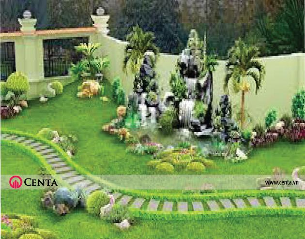 Mẫu tiểu cảnh, thiết kế sân vườn khu biệt thự nghỉ dưỡng đá non bộ lát đá