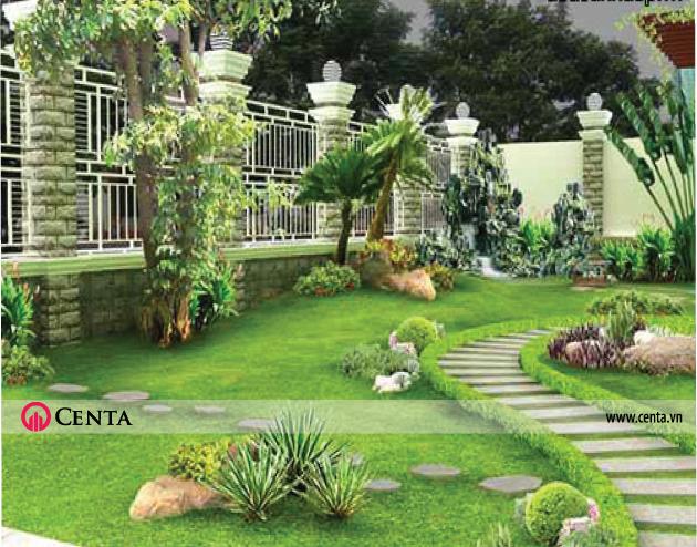 Mẫu tiểu cảnh đẹp có vườn rộng, hàng rào lớn, khuôn viên sạch sẽ