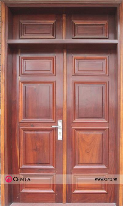 Mẫu cửa gỗ lim 2 cánh đơn giản nhà dân dụng