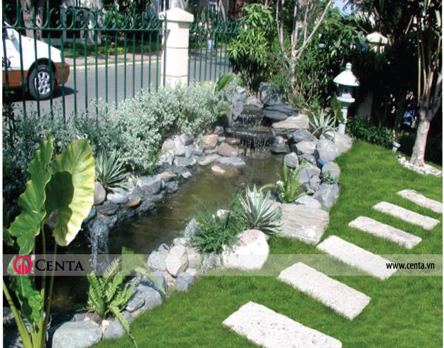 Mẫu tiểu cảnh đẹp, đá non bộ lát gạch sân vườn cỏ Nhật 2020