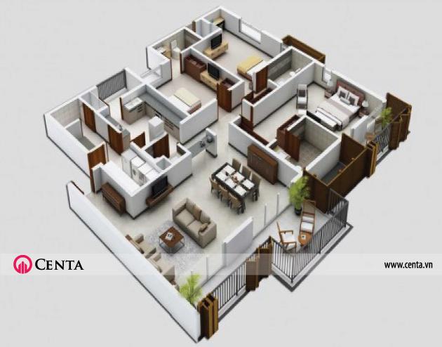 13-.thiet-ke-noi-that-nha-3-phong-ngu www.centa.vn