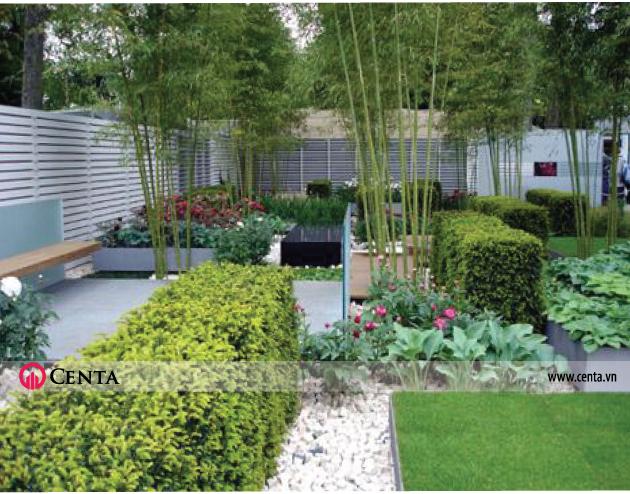 Thiết kế sân vườn hàng rào, lối đi rải sỏi, tre trúc cảnh cỏ Nhật