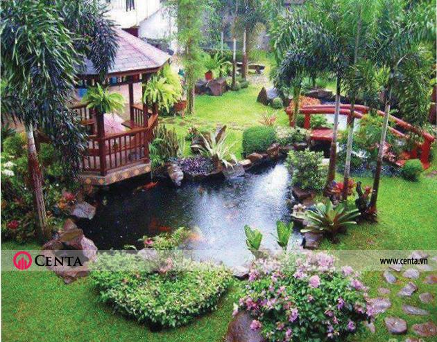 Thiết kế sân vườn hồ cá koi chòi nghỉ sân vườn cây xanh tiểu cảnh biệt thự