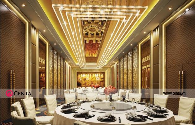 Nhà hàng ăn uống sang trọng có bàn ăn tròn và trang trí trần đẹp