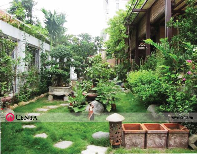 Mẫu thiết kế sân vườn cho biệt phủ, cây xanh, non bộ, cỏ nhật cây leo