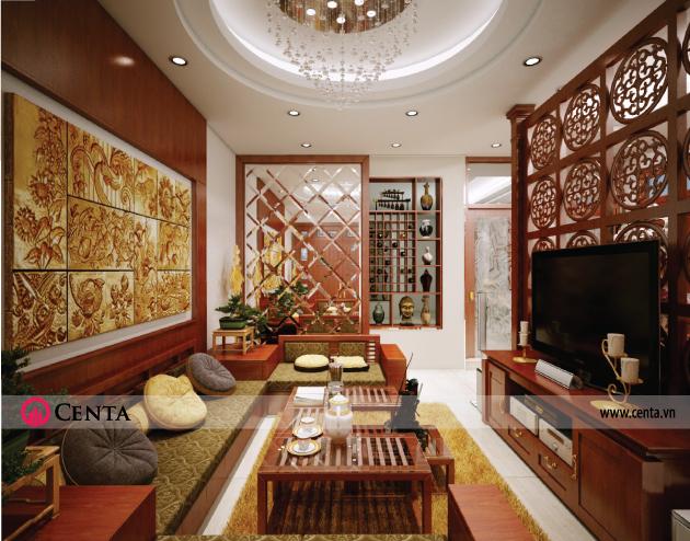 Thiết kế noi-that-phong-khach-go-tu-nhien www.centa.vn