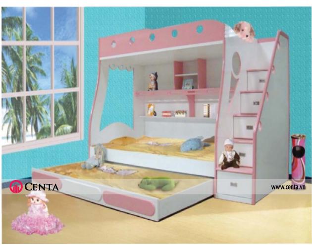 Mẫu giường tầng Khi ngủ thì kéo giường ra, không sử dụng thì đẩy vào