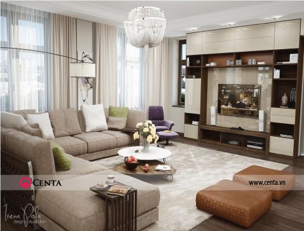 Thiết kế nội thất Phòng khách căn hộ chung cư đẹp phong cách hiện đại