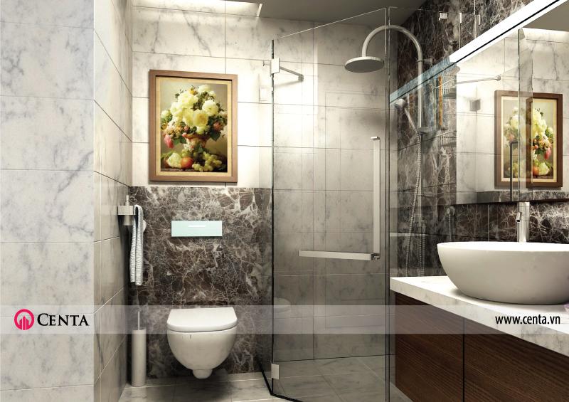 Phòng vệ sinh, phòng tắm đá vân mây, vách kính tắm chéo, chậu lavabo, vòi sen