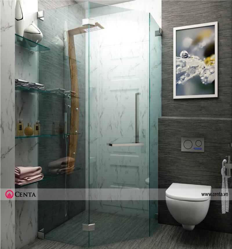 Nhà vệ sinh sử dụng vách kính tắm, đợt kính cường lực, kệ kính