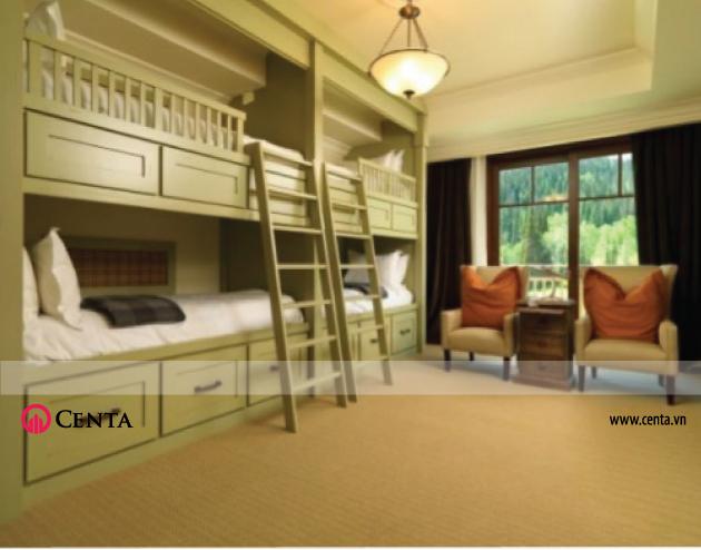 Giường tầng 4 người cho trẻ em căn hộ chung cư nhỏ