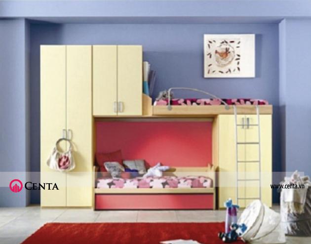 Mẫu giường tầng màu vàng hồng