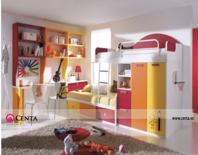 Mẫu giường tầng màu vàng cam