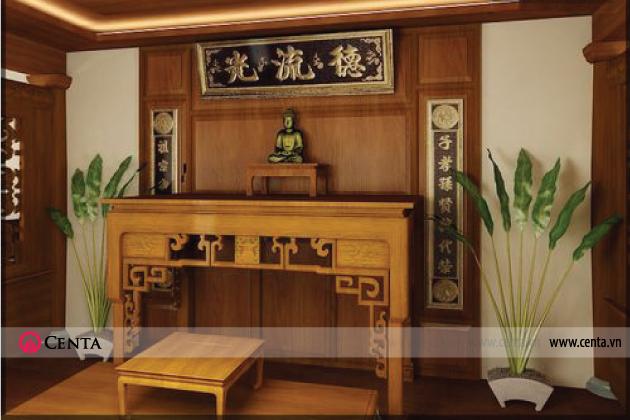 Mẫu số 1: bàn thờ gỗ chuẩn phong thủy