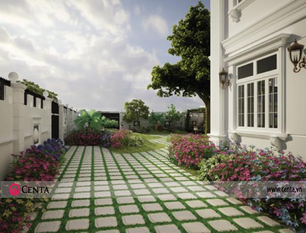 Thiết kế nhà phố biệt thự nhà đẹp có sân vườn phong cách tân cổ điển