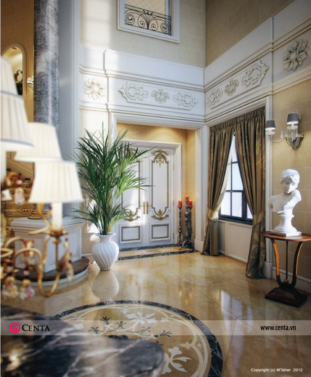 Biệt thự tân cổ điển đẹp sảnh hành lang phòng khách