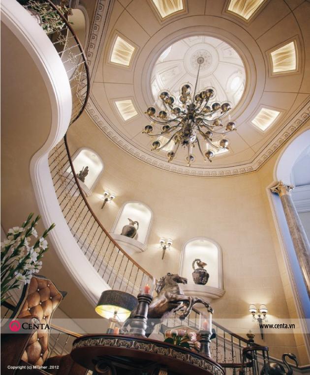 Thiết kế mẫu biệt thự tân cổ điển có cầu thang đẹp