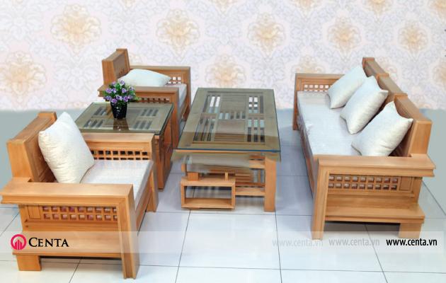 Bộ bàn ghế sofa gỗ sồi gồm sofa 3, 2 ghế đơn, bàn trà gỗ kính