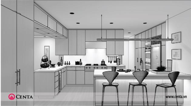 Tủ bếp phòng ăn hiện đại nhưng diện tích nhỏ vẫn được thiết kế đẹp