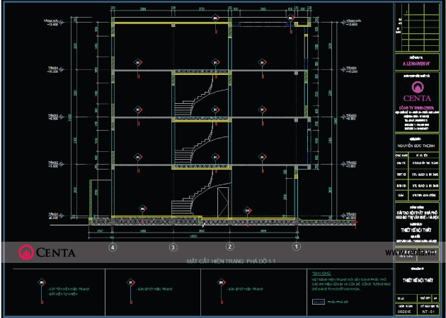 Bản vẽ thiết kế kỹ thuật thi công kết cấu thang