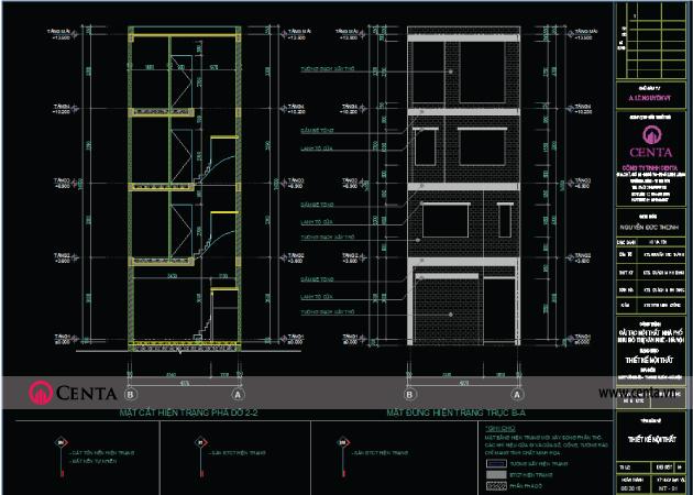 Bản vẽ thiết kế kỹ thuật thi công - mặt đứng kiến trúc và thang