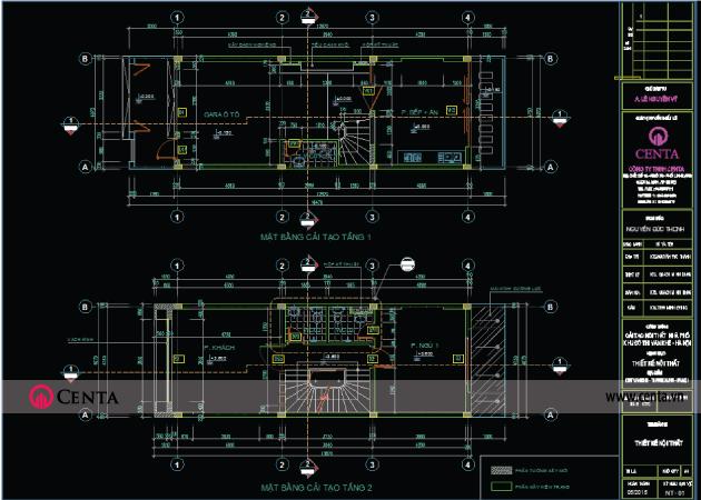 Bản vẽ thiết kế Kiến trúc mặt bằng tầng 1, 2