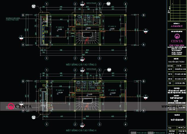 Bản vẽ thiết kế Kiến trúc mặt bằng tầng 3, 4