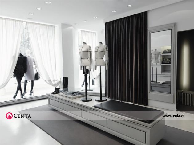 Nội thất shop thời trang cao cấp thiết kế gam màu đen trắng hiện đại và đơn giản