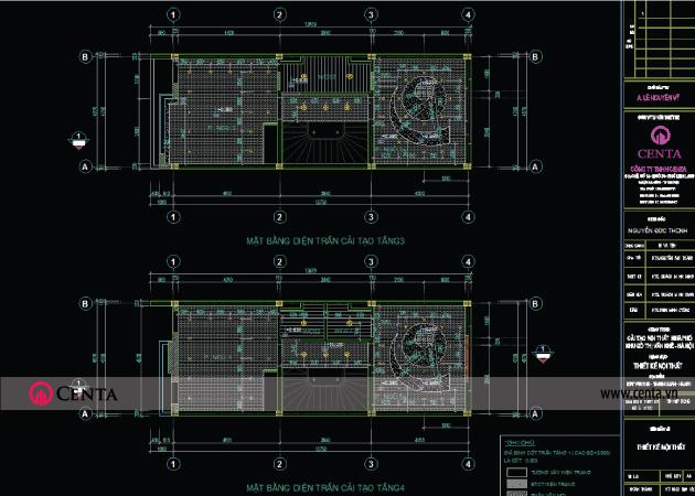 Mặt bằng cải tạo điện trần tầng 3 - hồ sơ thiết kế kỹ thuật thi công điện