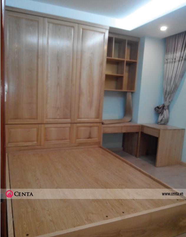 Thi công nội thất gỗ sồi giường ngủ, tủ áo căn hộ chung cư