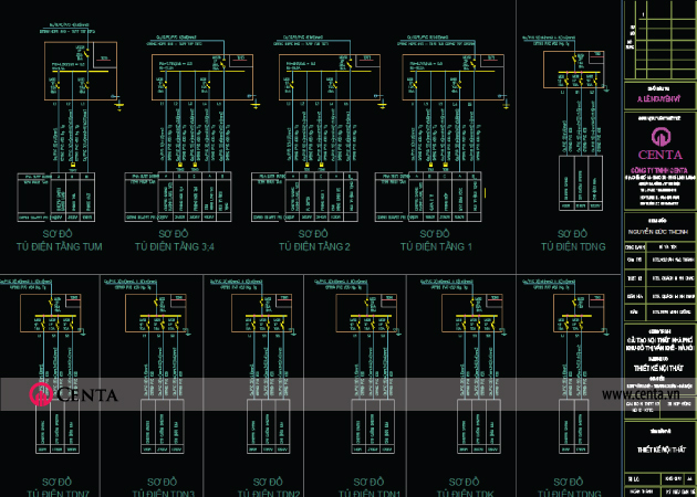 Bản vẽ sơ đồ nguyên lý tủ điện các tầng
