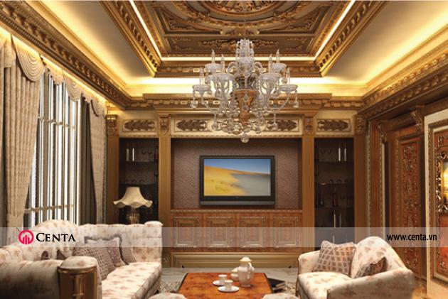 Trần thạch cao cổ điển dát vàng phào chỉ PU phòng khách