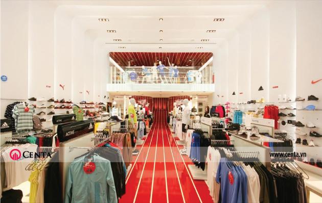 Mẫu thiết kế gian hàng trong siêu thị quần áo thời trang nam nữ