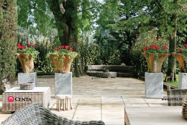 Các đồ mây tre đan trong thiết kế sân vườn biệt thự đẹp