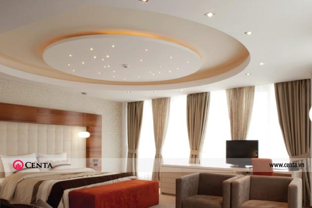 Trần thạch cao phòng ngủ hình tròn giật cấp