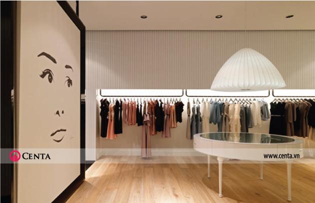 Thiết kế shop quần áo đơn giản và hiện đại sử dụng gam màu sáng nhẹ nhàng