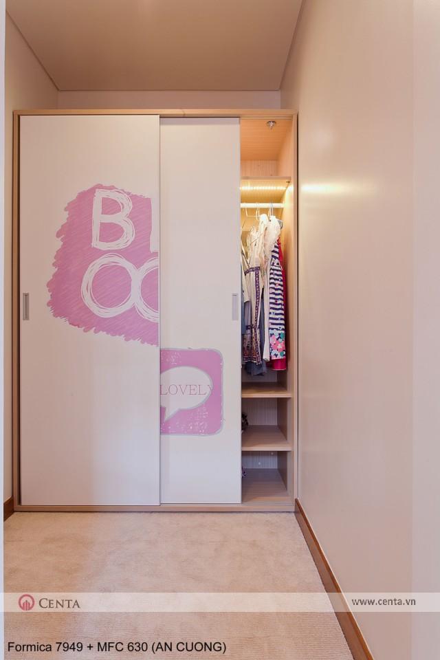 Mẫu phòng ngủ cho bé gái màu hồng có tủ áo đẹp