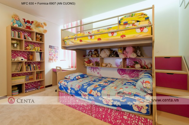 Mẫu giường tầng cho 2 bé ngủ chung. Phòng ngủ bé gái và bé trai