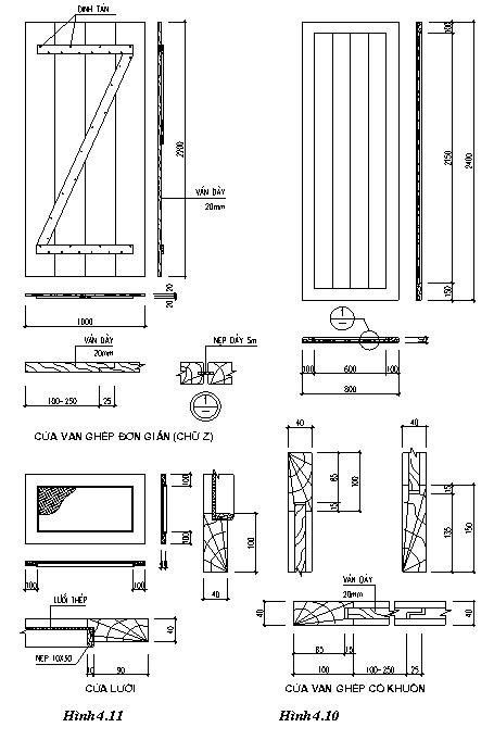 Chi tiết cấu tạo cửa kính cửa ván ghép thanh