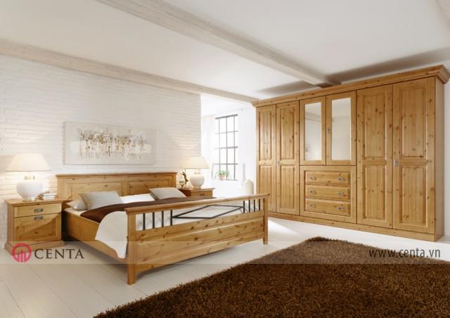 Mẫu Nội thất Phòng ngủ phong cách Malta Cổ điển sơn PU nguyên vân gỗ