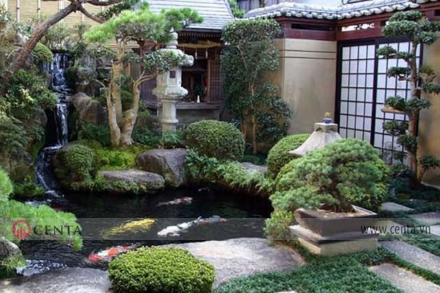 sân vườn Nhật Bản được kết hợp từ nhiều yếu tố khác nhau như đá, nước và cây cảnh